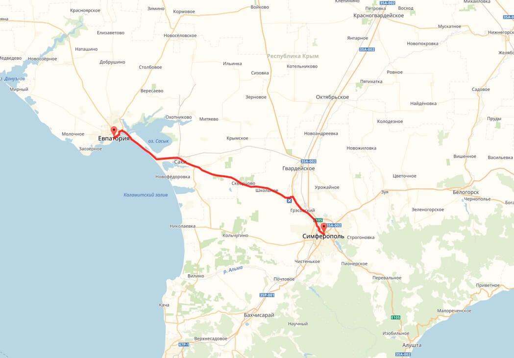 Расстояние от Симферополя до Евпатории фото 1